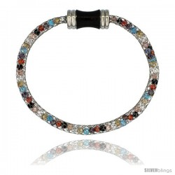 Stainless Steel Multi-color Crystal Cage Bracelet Magnetic-clasp 7.5 in long