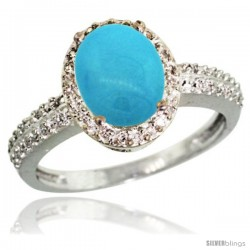 Sterling Silver Diamond Sleeping Beauty Turquoise Ring Oval Stone 9x7 mm 1.76 ct 1/2 in wide