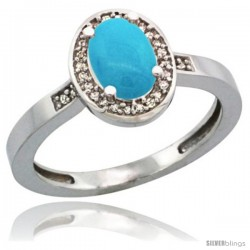 Sterling Silver Diamond Sleeping Beauty Turquoise Ring 1 ct 7x5 Stone 1/2 in wide