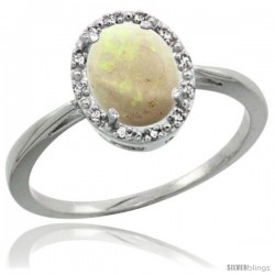 Sterling Silver Natural Opal Diamond Halo Ring 8X6 mm Oval Shape, 1/2 in wide