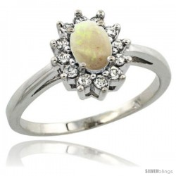 Sterling Silver Natural Opal Diamond Halo Ring Oval Shape 1.2 Carat 6X4 mm, 1/2 in wide