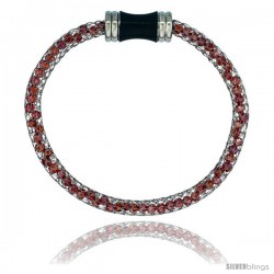 Stainless Steel Ruby-red Crystal Cage Bracelet Magnetic-clasp 7.5 in long