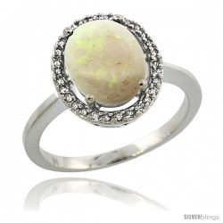 Sterling Silver Diamond Halo Natural Opal Ring 2.4 carat Oval shape 10X8 mm, 1/2 in (12.5mm) wide