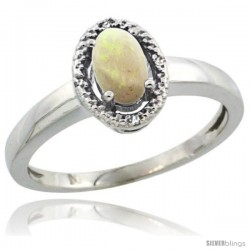 Sterling Silver Diamond Halo Natural Opal Ring 0.75 Carat Oval Shape 6X4 mm, 3/8 in (9mm) wide