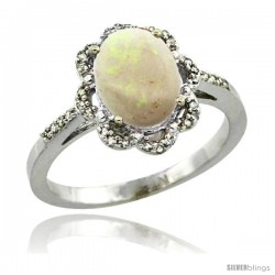 Sterling Silver Diamond Halo Natural Opal Ring 1.65 Carat Oval Shape 9X7 mm, 7/16 in (11mm) wide