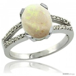Sterling Silver and Diamond Halo Natural Opal Ring 2.4 carat Oval shape 10X8 mm, 3/8 in (10mm) wide
