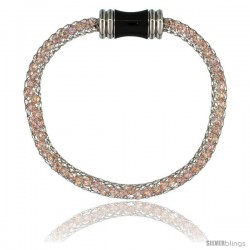 Stainless Steel Rose Crystal Cage Bracelet Magnetic-clasp 7.5 in long