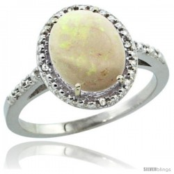 Sterling Silver Diamond Natural Opal Ring 2.4 ct Oval Stone 10x8 mm, 1/2 in wide -Style Cwg20111