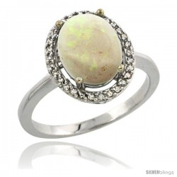 Sterling Silver Diamond Natural Opal Ring 2.4 ct Oval Stone 10x8 mm, 1/2 in wide -Style Cwg20114