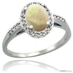 Sterling Silver Diamond Natural Opal Ring Oval Stone 8x6 mm 1.17 ct 3/8 in wide