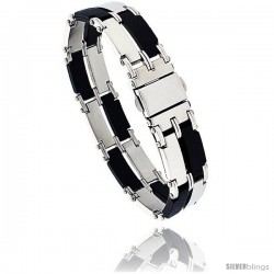 Stainless Steel & Rubber Rectangular Link Bracelet 2-row, 8 in long