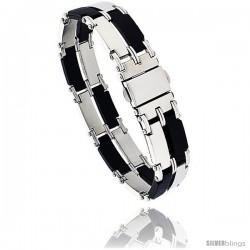 Stainless Steel & Rubber Rectangular Link Bracelet 2-row, 8 in long