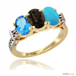 10K Yellow Gold Natural Swiss Blue Topaz, Smoky Topaz & Turquoise Ring 3-Stone Oval 7x5 mm Diamond Accent