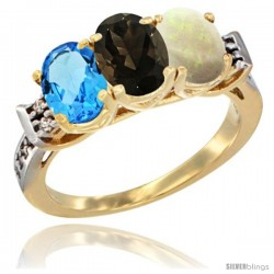 10K Yellow Gold Natural Swiss Blue Topaz, Smoky Topaz & Opal Ring 3-Stone Oval 7x5 mm Diamond Accent