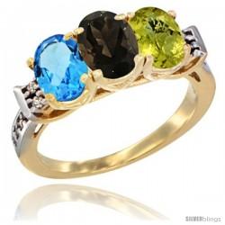 10K Yellow Gold Natural Swiss Blue Topaz, Smoky Topaz & Lemon Quartz Ring 3-Stone Oval 7x5 mm Diamond Accent