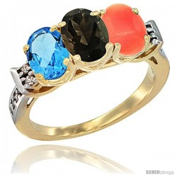 10K Yellow Gold Natural Swiss Blue Topaz, Smoky Topaz & Coral Ring 3-Stone Oval 7x5 mm Diamond Accent