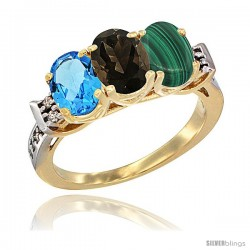 10K Yellow Gold Natural Swiss Blue Topaz, Smoky Topaz & Malachite Ring 3-Stone Oval 7x5 mm Diamond Accent