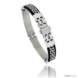 Stainless Steel and Rubber Greek Key Bracelet, 8 in long