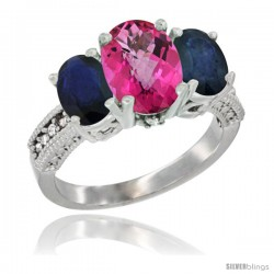 10K White Gold Ladies Natural Pink Topaz Oval 3 Stone Ring with Blue Sapphire Sides Diamond Accent