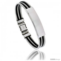 Solid Stainless Steel Cable and Rubber Bracelet, 8 in long