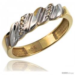 14k Gold Ladies' Diamond Wedding Ring Band, w/ 0.063 Carat Brilliant Cut Diamonds, 5/32 in. (5mm) wide