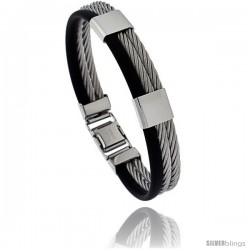 Solid Stainless Steel Cable and Rubber Bracelet, 8 in long -Style Bss25