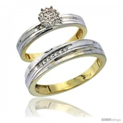 10k Yellow Gold Diamond Engagement Rings 2-Piece Set for Men and Women 0.10 cttw Brilliant Cut, 4 mm & 3.5 -Style 10y020em