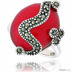 "Sterling Silver Oxidized Ring, w/ 17 x 14 Oval-shaped Red Resin, 7/8"" (22 mm) wide"