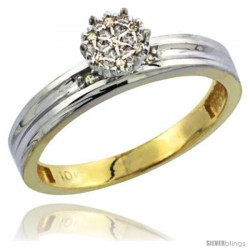 10k Yellow Gold Diamond Engagement Ring 0.06 cttw Brilliant Cut, 1/8in. 3.5mm wide -Style 10y020er