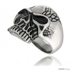 Surgical Steel Biker Skull Ring w/ 3 White CZ Stones