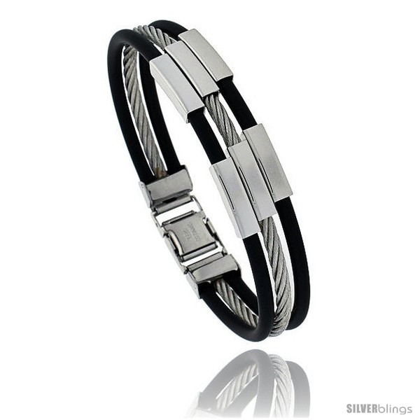 https://www.silverblings.com/958-thickbox_default/solid-stainless-steel-cable-and-rubber-bracelet-8-in-long-style-bss26.jpg