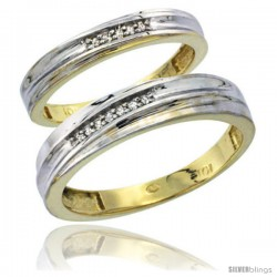 10k Yellow Gold Diamond Wedding Rings 2-Piece set for him 5 mm & Her 3.5 mm 0.07 cttw Brilliant Cut