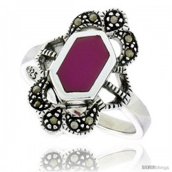 Sterling Silver Ring, w/ Hexagon-shaped Purple Resin, 3/4 in (19 mm) wide