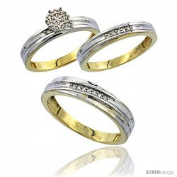 10k Yellow Gold Diamond Trio Engagement Wedding Ring 3-piece Set for Him & Her 5 mm & 3.5 mm wide 0.13 cttw Brilliant Cut