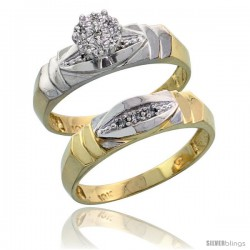 10k Yellow Gold Diamond Engagement Rings Set 2-Piece 0.06 cttw Brilliant Cut, 3/16 in wide