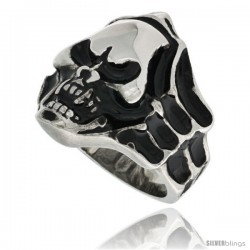 Surgical Steel Biker Ring Shrouded Vampire Skull