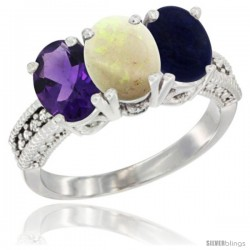 14K White Gold Natural Amethyst, Opal & Lapis Ring 3-Stone 7x5 mm Oval Diamond Accent