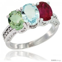 14K White Gold Natural Green Amethyst, Aquamarine & Ruby Ring 3-Stone 7x5 mm Oval Diamond Accent