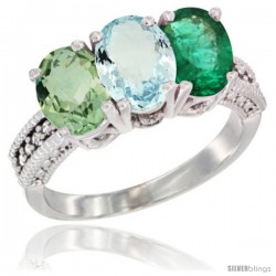 14K White Gold Natural Green Amethyst, Aquamarine & Emerald Ring 3-Stone 7x5 mm Oval Diamond Accent