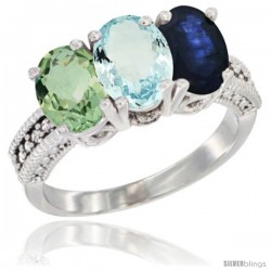 14K White Gold Natural Green Amethyst, Aquamarine & Blue Sapphire Ring 3-Stone 7x5 mm Oval Diamond Accent