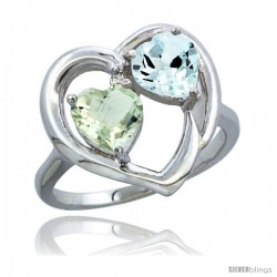 14k White Gold 2-Stone Heart Ring 6mm Natural Green Amethyst & Aquamarine Diamond Accent, Diamond Accent
