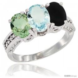 14K White Gold Natural Green Amethyst, Aquamarine & Black Onyx Ring 3-Stone 7x5 mm Oval Diamond Accent