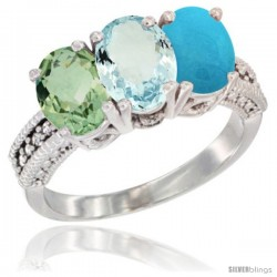 14K White Gold Natural Green Amethyst, Aquamarine & Turquoise Ring 3-Stone 7x5 mm Oval Diamond Accent