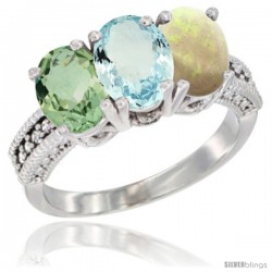 14K White Gold Natural Green Amethyst, Aquamarine & Opal Ring 3-Stone 7x5 mm Oval Diamond Accent