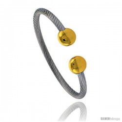 Solid Stainless Steel Cable Golf Bracelet, 8 in long with Magnets