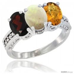 14K White Gold Natural Garnet, Opal & Whisky Quartz Ring 3-Stone 7x5 mm Oval Diamond Accent