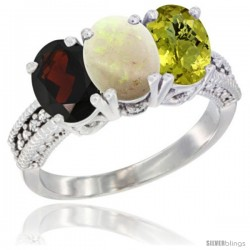 14K White Gold Natural Garnet, Opal & Lemon Quartz Ring 3-Stone 7x5 mm Oval Diamond Accent