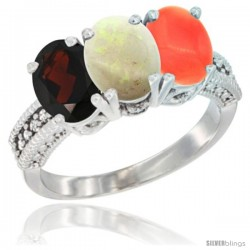 14K White Gold Natural Garnet, Opal & Coral Ring 3-Stone 7x5 mm Oval Diamond Accent
