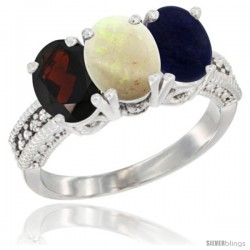 14K White Gold Natural Garnet, Opal & Lapis Ring 3-Stone 7x5 mm Oval Diamond Accent