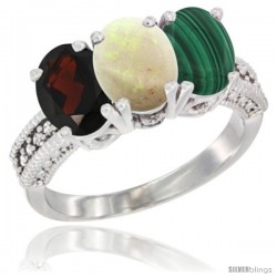 14K White Gold Natural Garnet, Opal & Malachite Ring 3-Stone 7x5 mm Oval Diamond Accent